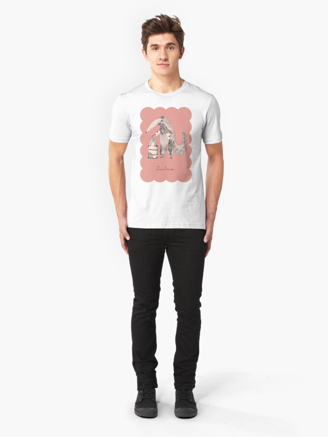 Alternate view of Beginning on your journey - Giant Anteater - Pink Slim Fit T-Shirt