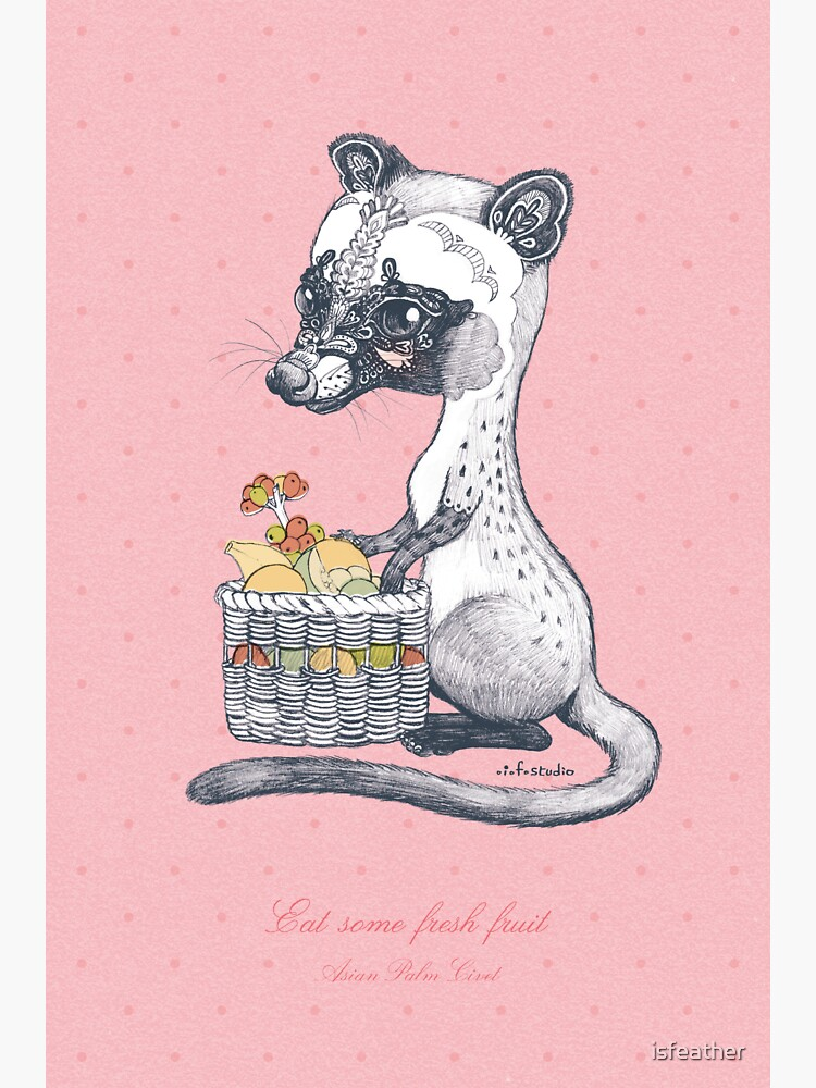 Eat Some Fresh Fruit - Asian Palm Civet - Pink by isfeather