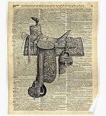 Vintage Horseriding Saddle, Dictionary Art, Antique Item Poster