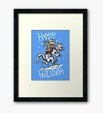 Calvin and Hoth - Holiday card Framed Print