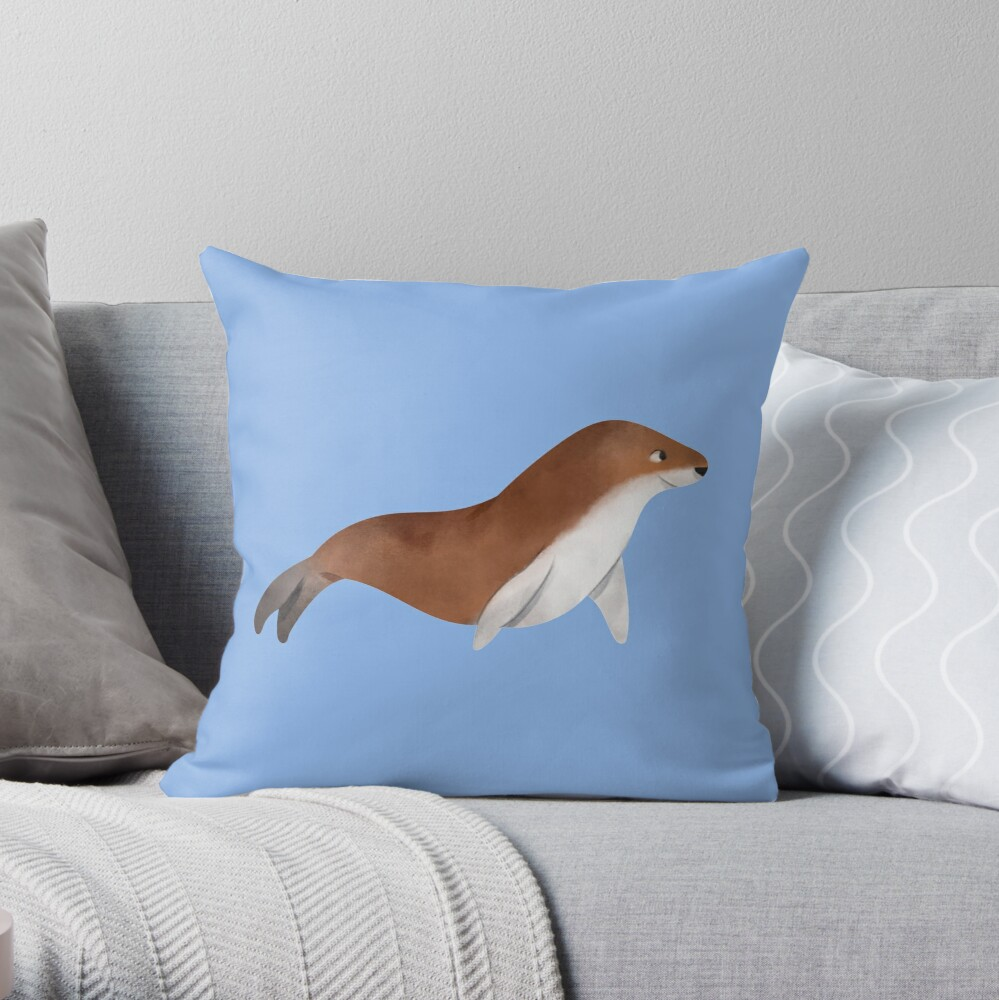 Cute watercolor seal Throw Pillow