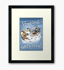 Attack of the Deranged Killer Snow Walkers - Holiday card Framed Print