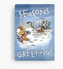 Attack of the Deranged Killer Snow Walkers - Holiday card Metal Print