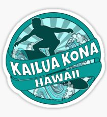 Kailua Kona Hawaii teal logo Sticker