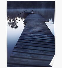 boat on a foggy lake Poster
