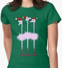 Three Christmas Flamingos  Women's Fitted T-Shirt