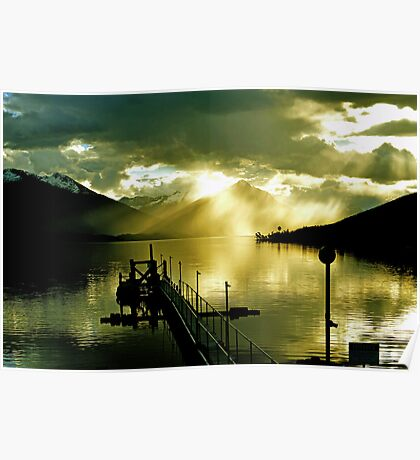 Sunset at Lake Te Anau. South Island, New Zealand. (4)   Poster