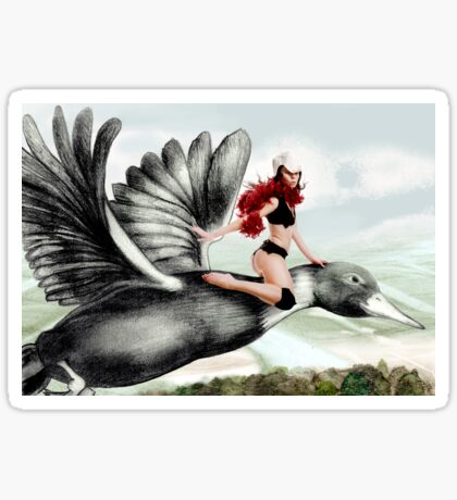 Arual the Elf flying on a goose Sticker