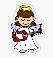 Funny Angel Girl Playing Red Guitar Sticker