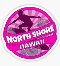 North Shore Hawaii pink surf logo Sticker