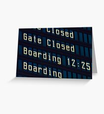 Airport information board. Greeting Card