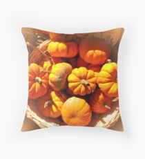 Dreamy Fall Autumn Harvest - Vignette Photo of Small Pumpkins in a Wicker Basket at the Market Throw Pillow