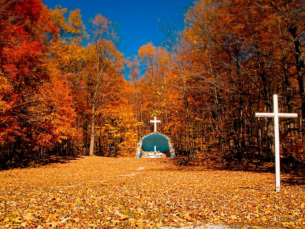 Quot leaf covered path fall autumn scenes cemetery altar amp cross quot by chantal photopix redbubble