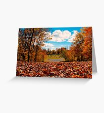 Fall Autumn Time – Orange Leaf Covered Path to Rural Graveyard w/ Cross & Depth of Field Greeting Card