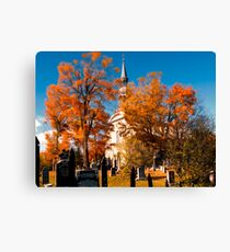 New England Style Church in Fall Autumn Cemetery with Orange Leaves, Trees & Tombstones Canvas Print