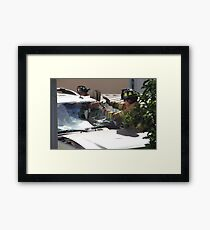 WINDSHIELD OF THIS SUV- HENCE TRUCK IN FENCE Framed Print