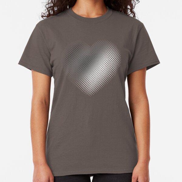 Linear Gradient on Halftone Heart (Gray) NOIR Classic T-Shirt