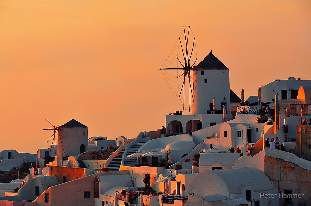 The Windmills of Oia by Peter Hammer