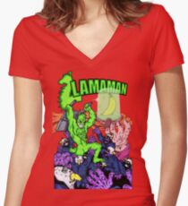 Llamaman Women's Fitted V-Neck T-Shirt