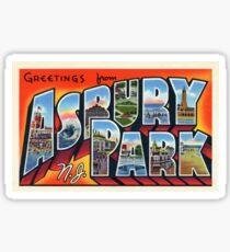 Greetings From Asbury Park Vintage Postcard Sticker Sticker