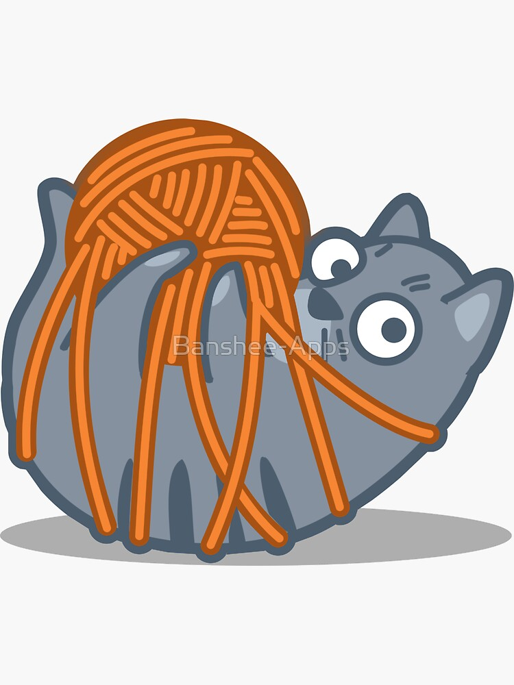 Tangled Cat Tshirt and Stickers - Cat Gifts for Cat lovers everywhere! by Banshee-Apps