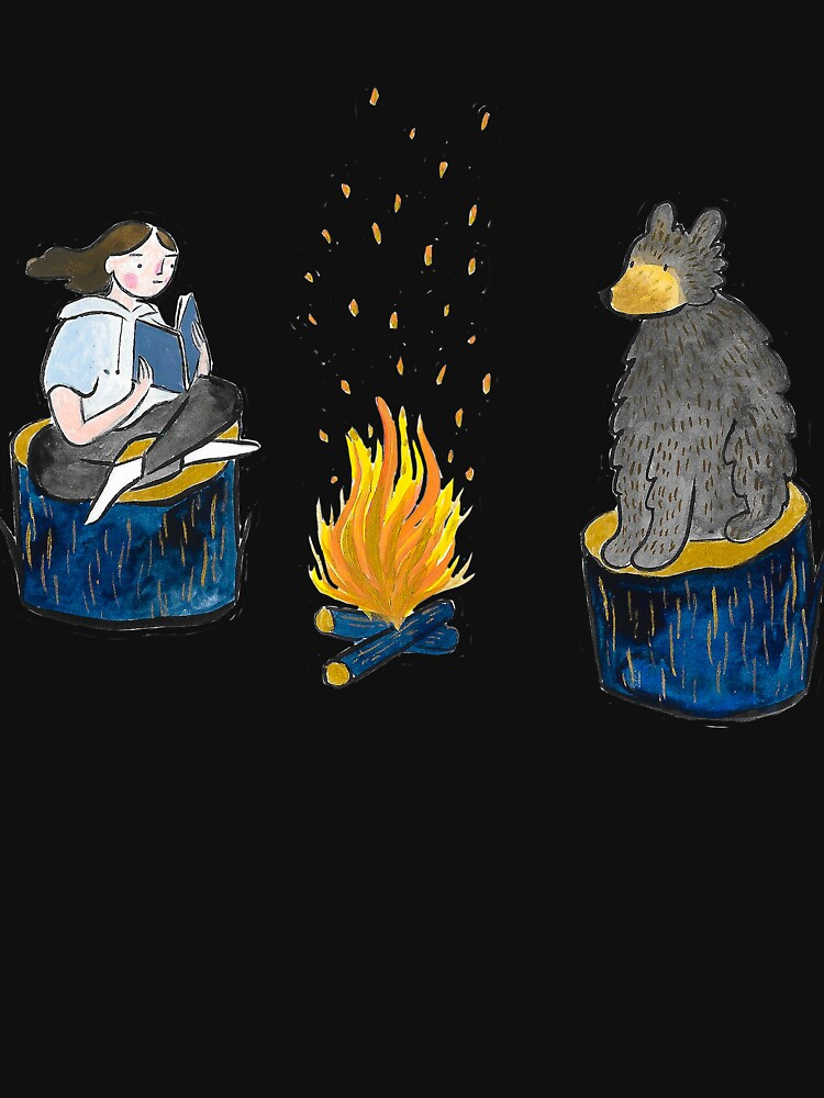 Bear and Girl by Campfire by emilienunez
