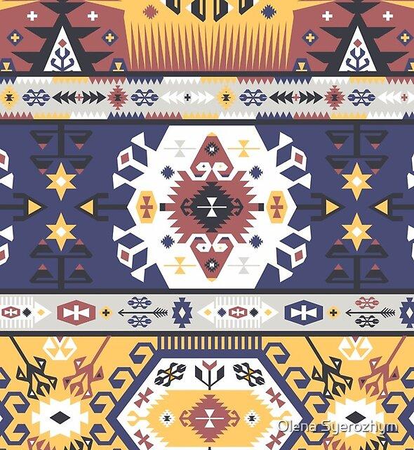Bright pattern in tribal style by Olena Syerozhym