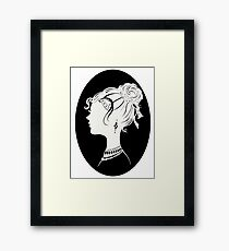 Elegant  Woman Silhouette, Vanity , Beauty black white Illustration Framed Print