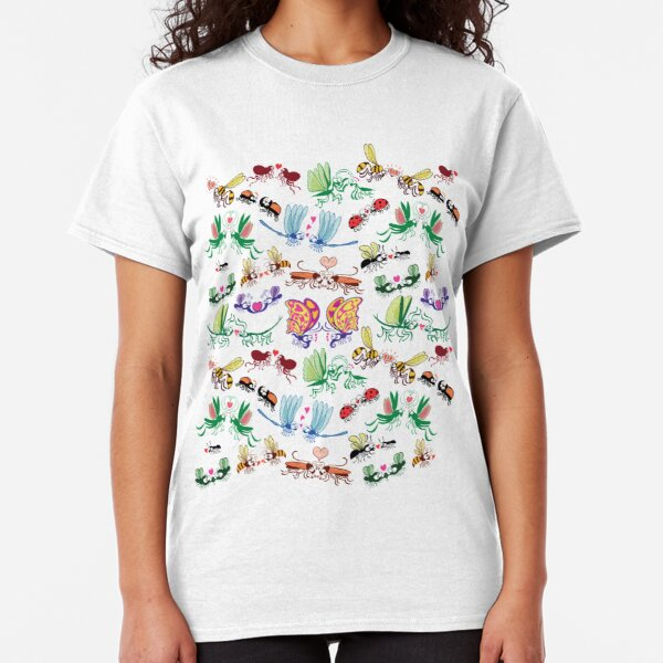 Funny insects falling in love in a pattern design Classic T-Shirt