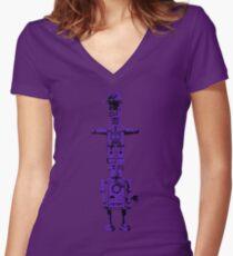 Robot Totem - BiLevel Purple Women's Fitted V-Neck T-Shirt