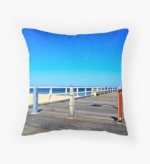 Quiet Time On The Pier And Beach  Throw Pillow