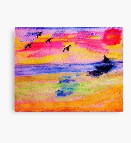 On the Sea, in,watercolor PENCIL Canvas Print