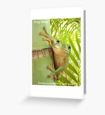 Frog Happy - Entices you to return his smile (Award Winner) Greeting Card