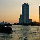 Sunset, Chao Phraya river, Bangkok, Thailand by johnrf