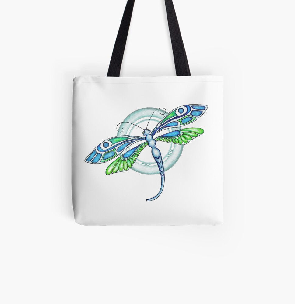 Deco Dragonfly All Over Print Tote Bag