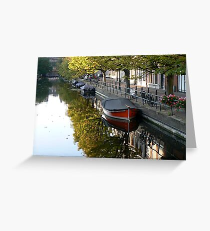 parking boat in channel Greeting Card
