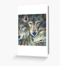 Gray wolves painting - 2012 Greeting Card