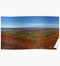 Fall Autumn Colors ~ Aerial View of Fields, Farmland & the Ottawa River ~ Country Landscape Poster