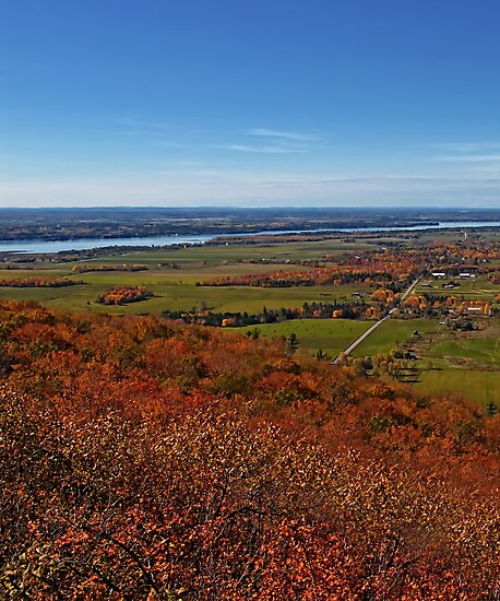 Fields, Meadow. Rural Road & the Ottawa River in a Fall Autumn Landscape under a Blue Sky with Haze by Chantal PhotoPix