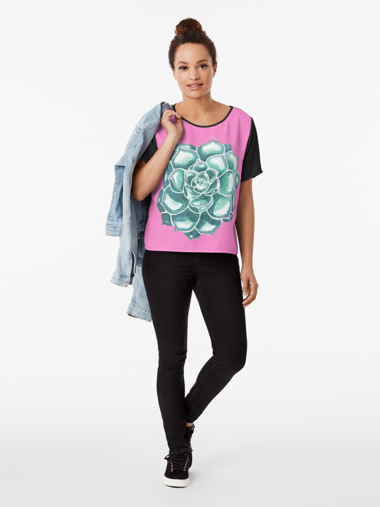 Alternate view of Watercolor succulents Chiffon Top