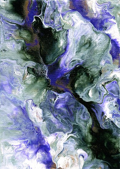 Fluid Art Abstract Purple Green Gold White