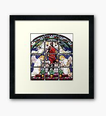 Michael Jordan w/ church glass stained windows Framed Print