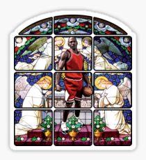 Michael Jordan w/ church glass stained windows Sticker