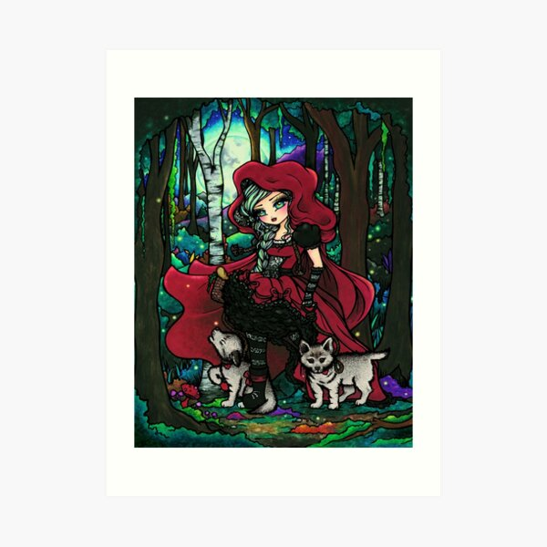 Red Riding Hood with Big Bad Wolf Pups Art Print