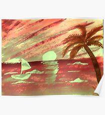Sailing at sunset, watercolor Poster