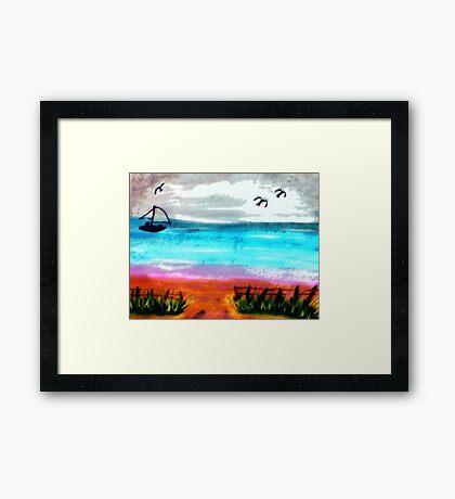 Seascape #2, finishd, watercolor Framed Print