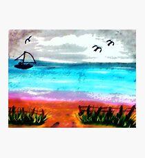 Seascape #2, finishd, watercolor Photographic Print