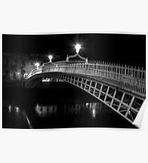 Ha'Penny Bridge At Night (mono) Poster
