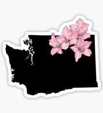 Washington Silhouette and Flowers Sticker