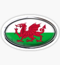 Wales Flag Glass Oval Die Cut Sticker Sticker